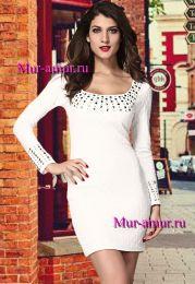 Белое платье с длинными рукавами