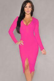 Ярко розовое платье миди