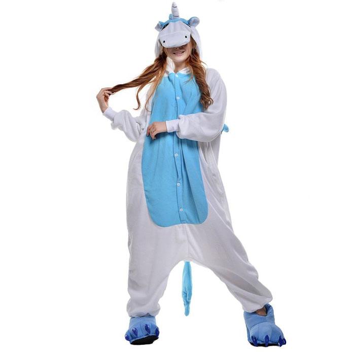 Пижама Кигуруми Единорог Голубой Премиум