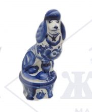 Собака Гжель Пудель цирковой 17х7х8,5см