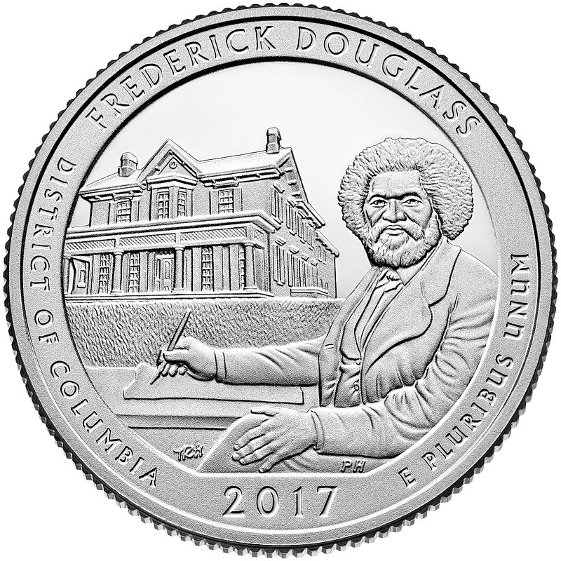 "25 центов 2017г. 37-й парк ""Фредерик Дуглас (Frederick Douglass)"""