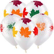 """Осенние листья, 12"""", прозрачный, 2 дизайна, 5 стор., 100 шт"""