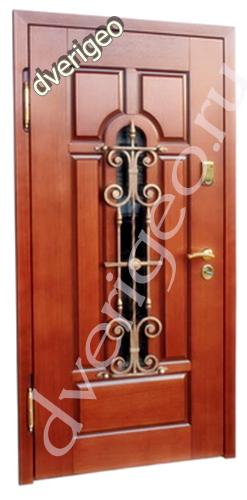 Металлическая дверь со стеклопакетом и ковкой Акция!!!