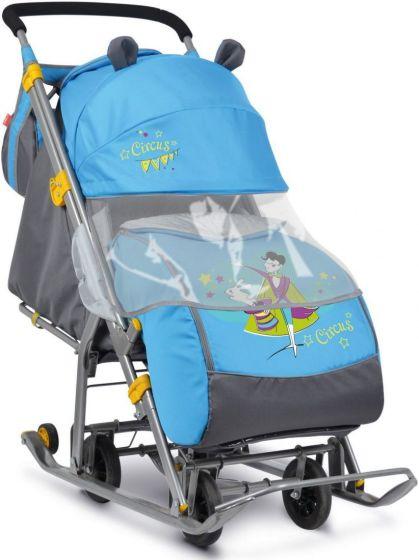 Зимние санки - коляска с выдвижными колесами Ника Цирк