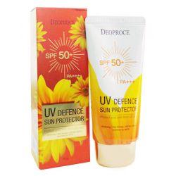 Deoproce UV Defence Sun Cream SPF 50+ PA+++ 70g - легкий увлажняющий солнцезащитный крем для лица SPF50+ PA+++