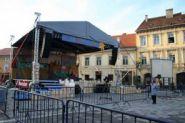 Аренда сцены с элеваторной крышей ГРАУНД размерами от 8х6 до 14х12 метров.