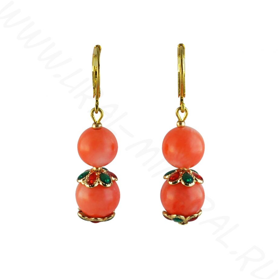 Серьги - Коралл оранжевый