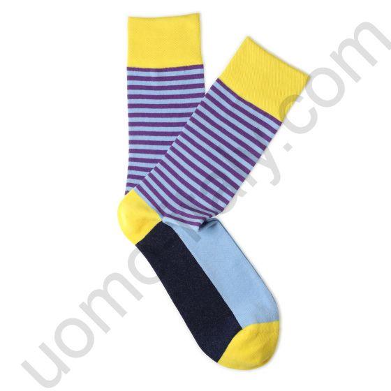 Носки Tezido желтые с сиреневой полоской