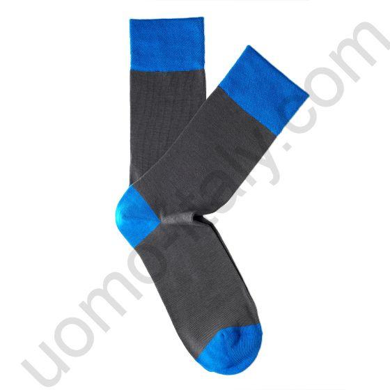 Носки Tezido серые гладкие с голубой резинкой
