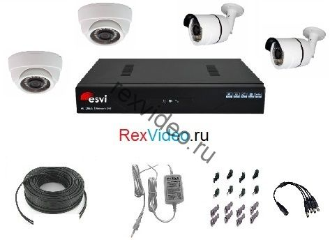 Комплект на 4 камеры AHD HD-720p для улицы и помещения + 4-канальный видеорегистратор