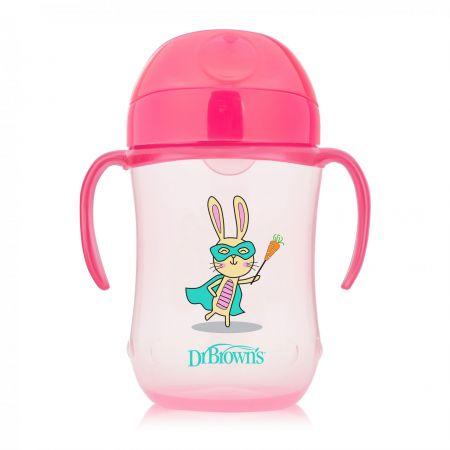 Dr.Brown`s Чашка-поильник 270 мл с мягким носиком и ручками, возраст 9+ (Розовый Супергерой) (Арт. ТС91024)