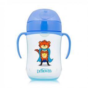 Dr.Brown`s Чашка-поильник 270 мл с мягким носиком и ручками, возраст 9+ (Синий Супергерой), (Арт. ТС91025)