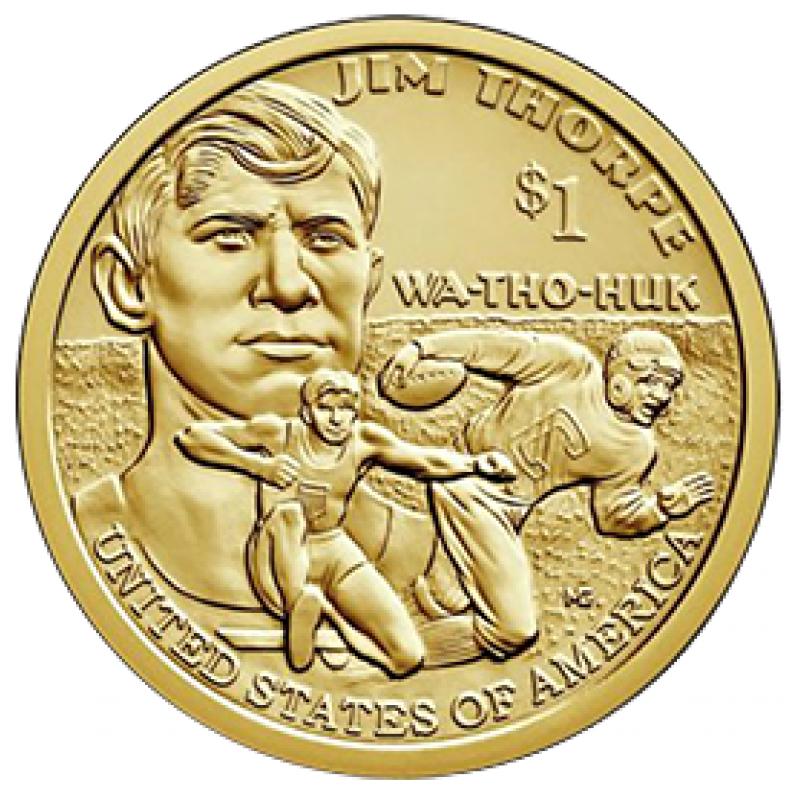 """1 доллар 2018 Сакагавея """"Джим Торп (Jim Thorpe)"""""""
