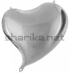 Шар (18''/46 см) Сердце, Изгиб, Серебро