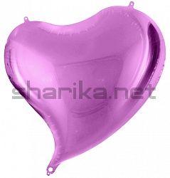Шар (18''/46 см) Сердце, Изгиб, Фиолетовый