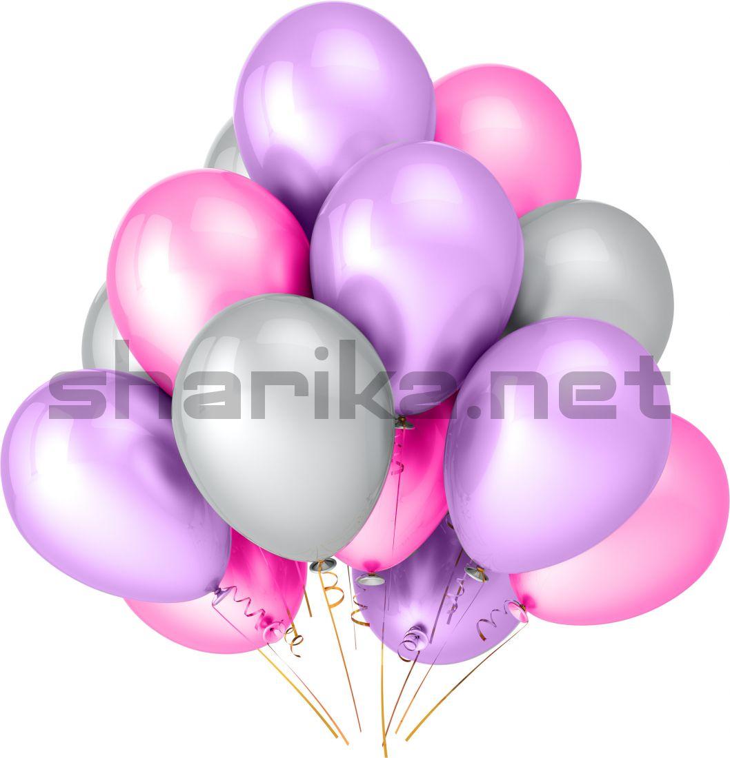 Облако воздушных шариков (12''/30 см) Розовый и сиреневый и белы