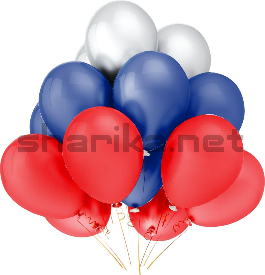 Облако воздушных шариков (12''/30 см) Триколор