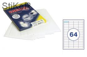 73579 Этикетки самоклеящиеся MEGA LABEL 48,5х16,9 мм / 64 шт. на листе А 4 (100 листов в пачке)