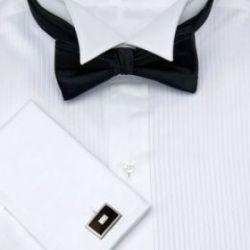 Рубашка мужская под бабочку, под смокинг белая T.M.Lewin приталенная Slim Fit (37431)