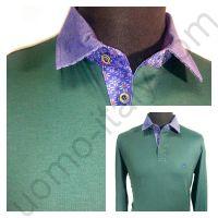 Рубашка-поло зеленая с длинным рукавом
