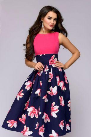 Платье длины миди с верхом цвета фуксии и принтованной юбкой (DM01205FA)