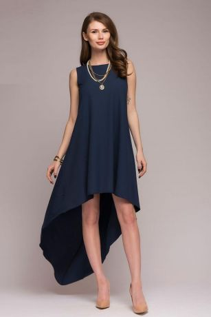 Платье темно-синее разноуровневое (DM00622DB)