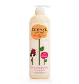 DEOPROCE Original Essence 2 in 1 Shampoo Camellia 1000ml - Шампунь-бальзам 2 в 1 с маслом камелии