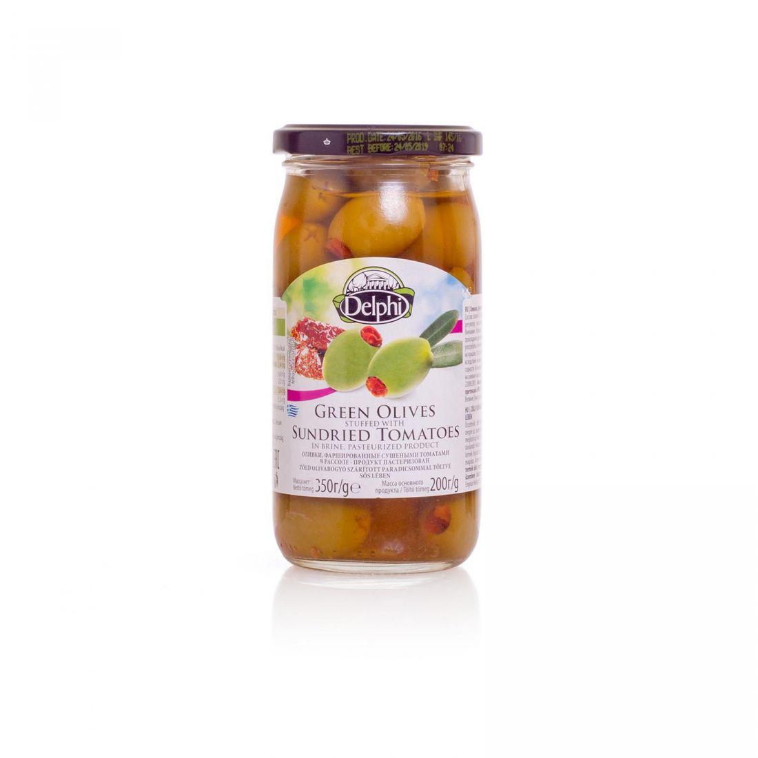Оливки зеленые Delphi фаршированные вялеными томатами - 350 гр - стекло