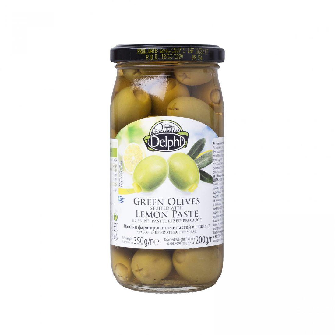 Оливки зеленые Delphi фаршированные лимоном - 350 гр - стекло
