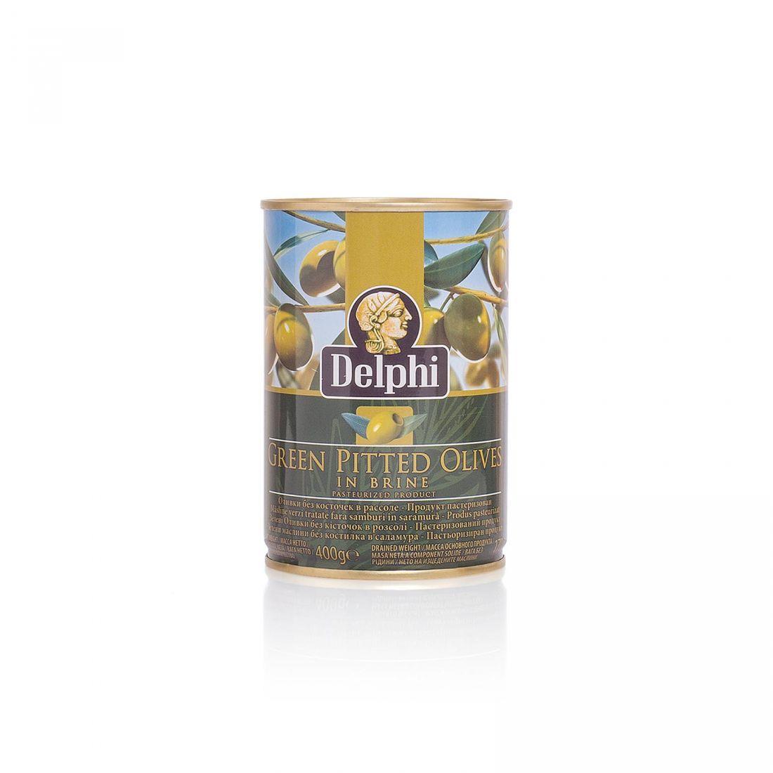 Оливки зеленые Delphi - 400 гр без косточки в рассоле, жесть