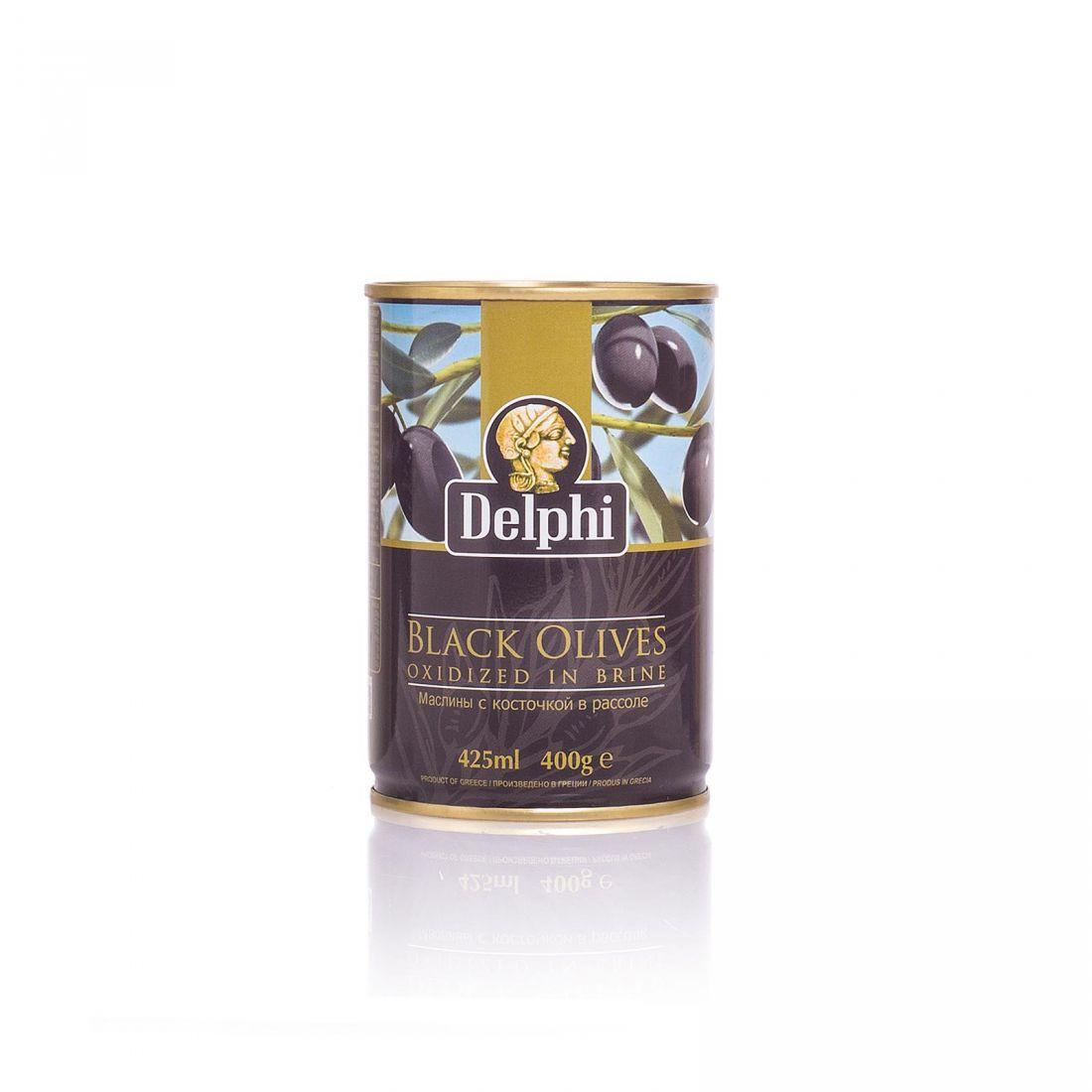 Маслины черные Delphi - 400 гр с косточкой в рассоле, жесть