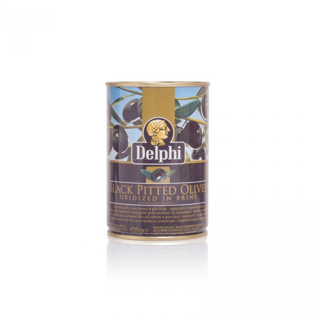 Маслины черные Delphi - 400 гр без косточки в рассоле, жесть