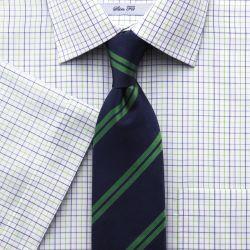 Мужская рубашка c коротким рукавом белая в сине-зеленую клетку Charles Tyrwhitt не мнущаяся Non-Iron приталенная Slim Fit