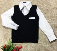 Кофта -рубашка обманка(белая) 6-14 №СТ6-8