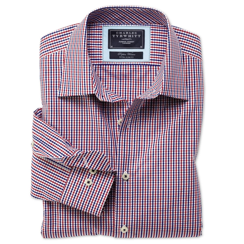14248ba66e9 Мужская рубашка в красно-синюю клетку Charles Tyrwhitt сильно приталенная  Extra Slim Fit