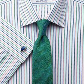 Мужская рубашка под запонки в красно-сине-зеленую полоску Charles Tyrwhitt сильно приталенная Extra Slim Fit (RT029PGR)