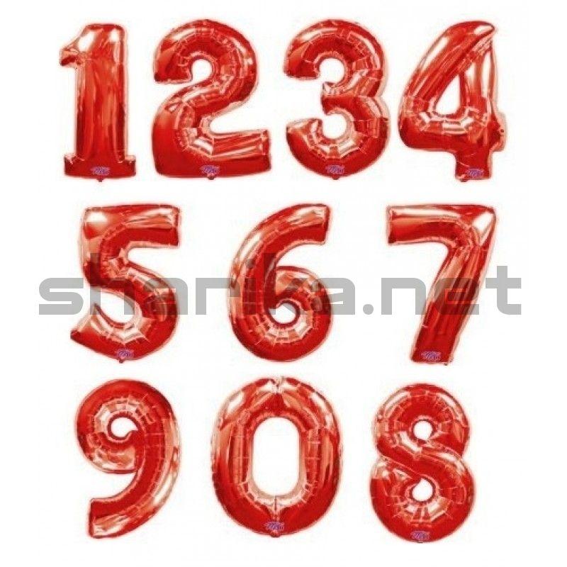 Шар цифра красная (102 см) в ассортименте