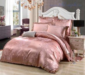 Комплект постельного белья ЕВРО 4 наволочки жаккард с вышивкой