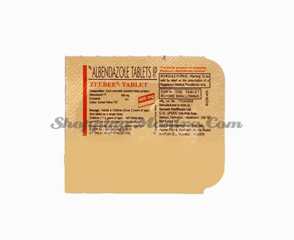 Противопаразитарный препарат Зиибии Альбендазол 400мг Сан Фарма 10 таблеток | Sun Pharm Zeebee Albendazole 400mg 10 Tablets