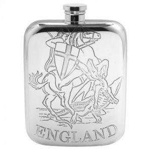 Фляжка из британского пьютера- Англия ( Святой Георгий поражающий змея) GEORGE & DRAGON FLASK , фирма English Pewter.