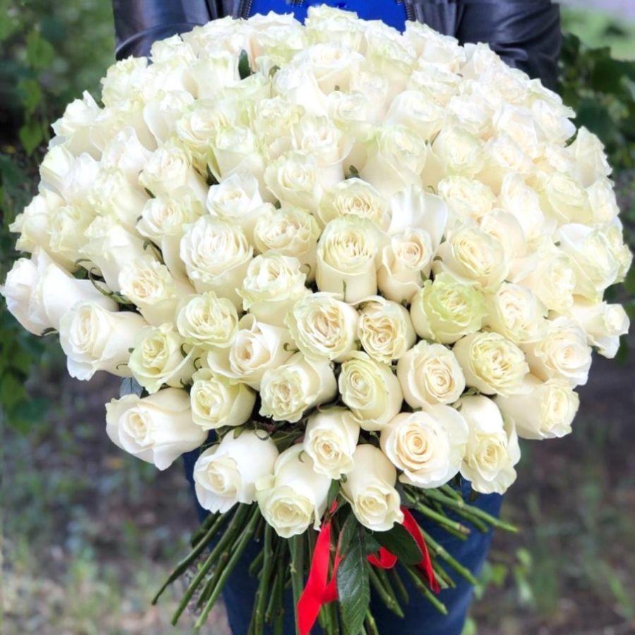 101 белая роза премиум 60см