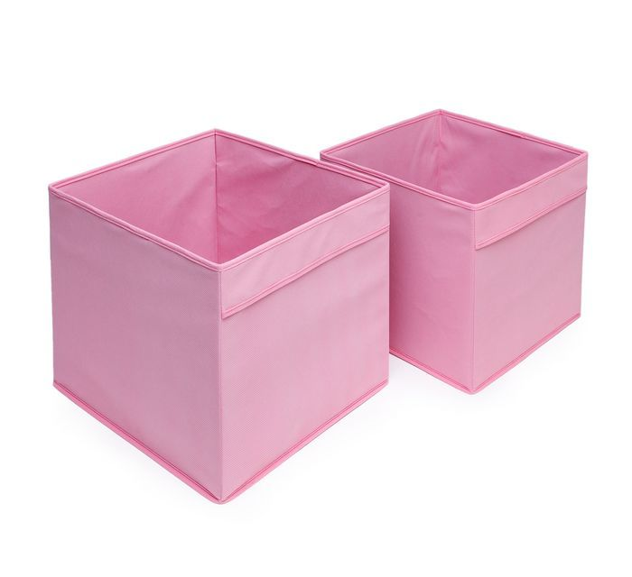 Коробка розовая с ручками для хранения игрушек, белья, мелочей