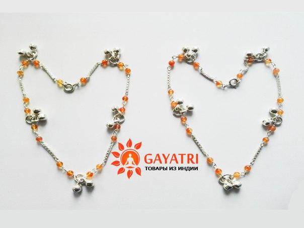 Серебряные браслеты-колокольчики с натуральными камнем- тигровый глаз.
