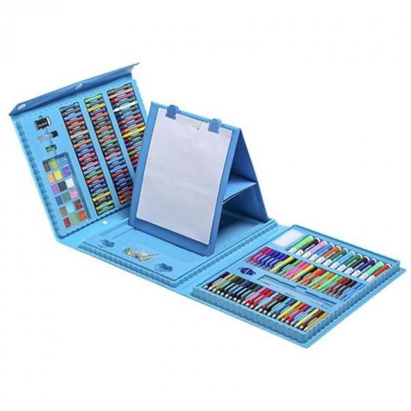 Набор для рисования со складным мольбертом в чемоданчике, 176 предметов Голубой