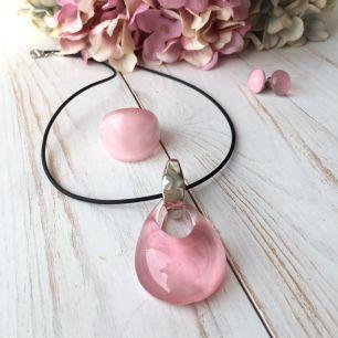 Комплект розовый  Нежность муранское стекло