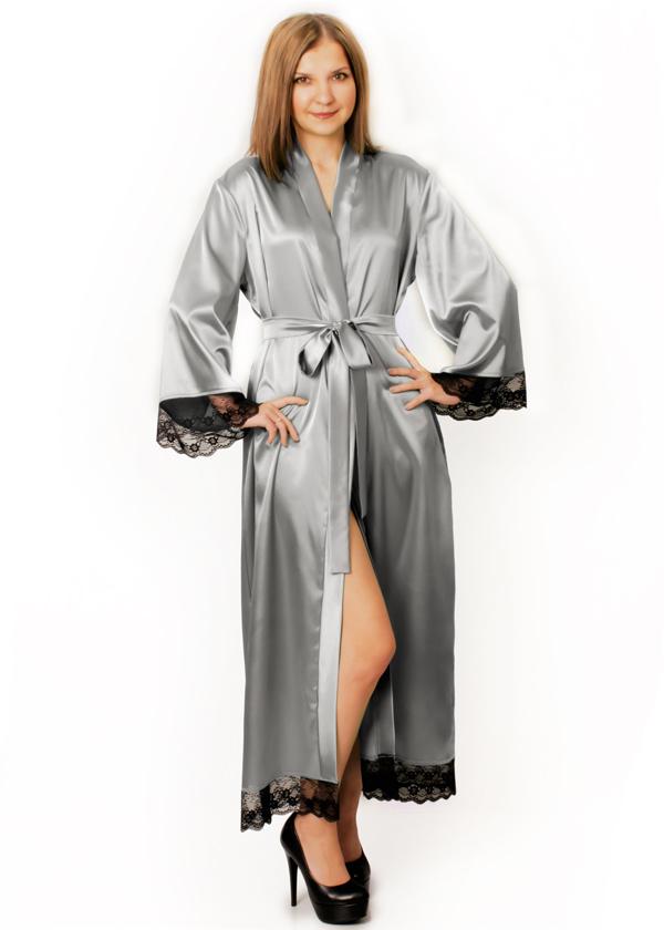 Длинный атласный халат Скарлетт  (светло-серый)