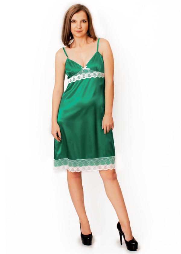 Атласная сорочка - Малина (бриллиантовый зеленый)
