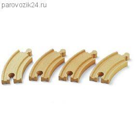 Набор закругленных полотен для деревянной ж/д, 4 детали