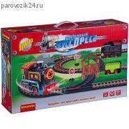 """Железная дорога """"Восточный экспресс"""" с паровозом и вагоном, 258 см"""