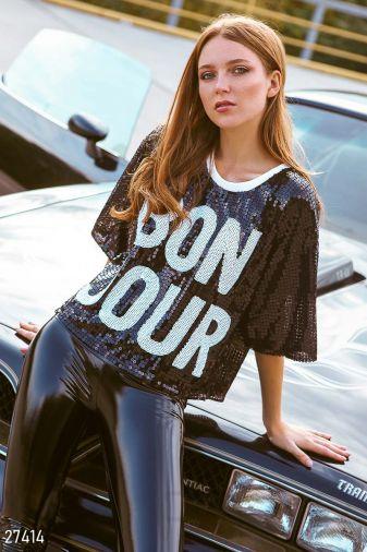 Модная укороченная футболка 27414